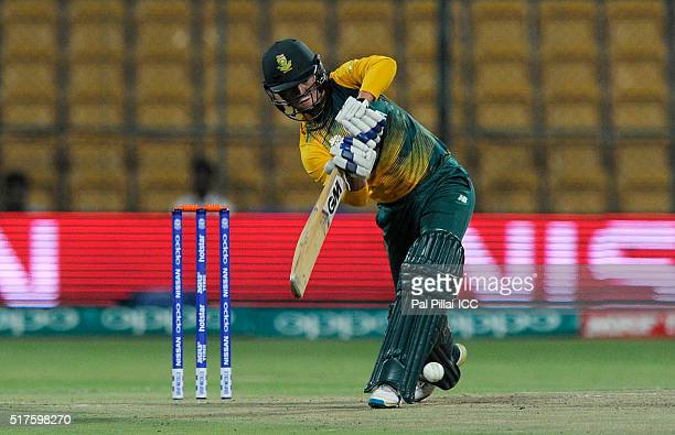 Marizanne Kapp of South Africa bats during Women's ICC World Twenty20 India 2016 match between South Africa and New Zealand at the Chinnaswamy...