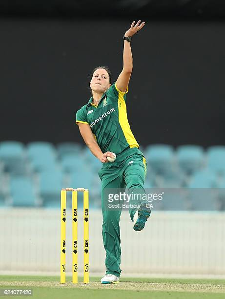 Marizanne Kapp of South Africa bowls during the women's one day international match between the Australian Southern Stars and South Africa at Manuka...
