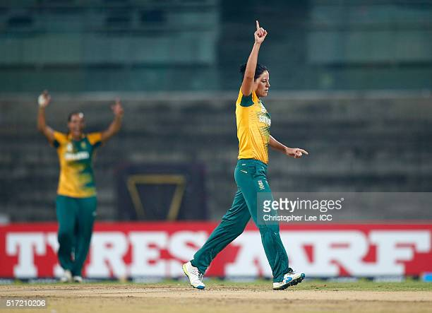 Marizanne Kapp of South Africa celebrates taking the wicket of Cecelia Joyce of Ireland during the Women's ICC World Twenty20 India 2016 Group A...