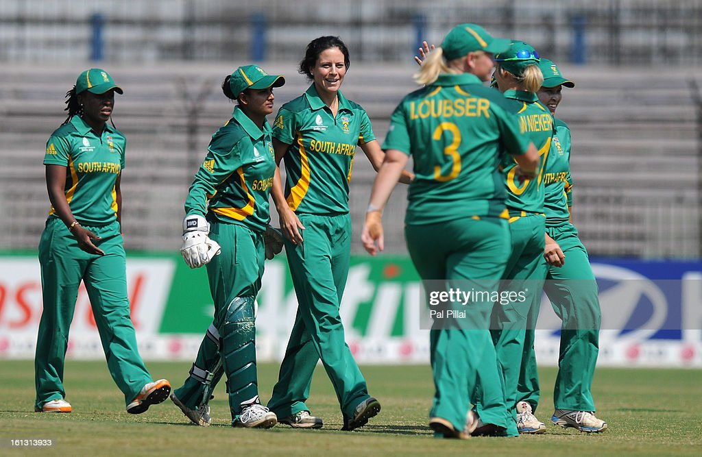 Marizanne Kapp of South Africa celebrates the wicket of Charlotte Edwards captian of England during the Super Sixes match between England and South Africa held at the Barabati stadium on February 10, 2013 in Cuttack, India.
