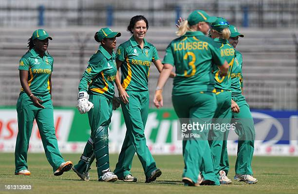 Marizanne Kapp of South Africa celebrates the wicket of Charlotte Edwards captian of England during the Super Sixes match between England and South...
