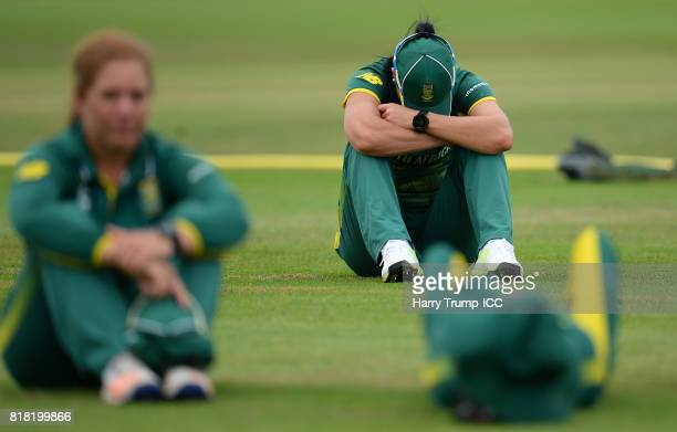 Marizanne Kapp of South Africa cuts a dejected figure at the end of the match during the ICC Women's World Cup 2017 SemiFinal match between England...