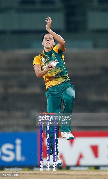 Marizanne Kapp of South Africa in action during the Women's ICC World Twenty20 India 2016 Group A match between South Africa and Ireland at the...