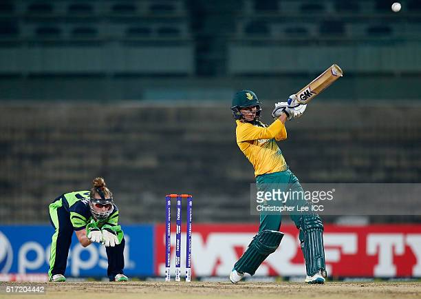 Marizanne Kapp of South Africa in action with Mary Waldron of Ireland during the Women's ICC World Twenty20 India 2016 Group A match between South...