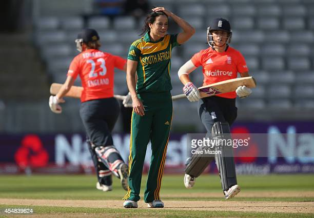 Marizanne Kapp of South Africa looks on during the NatWest Women's International T20 match between Engalnd Women and South Africa Women at Edgbaston...