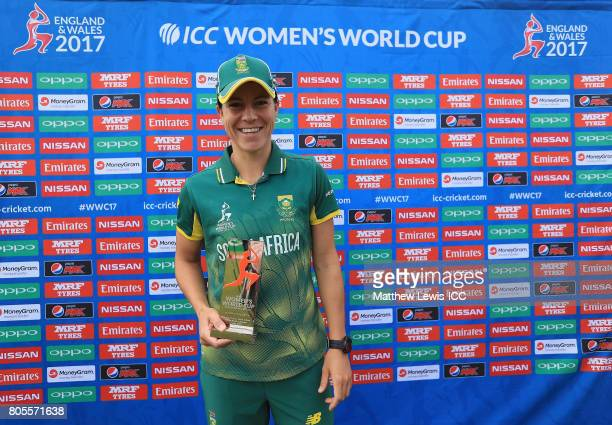 Marizanne Kapp of South Africa pictured with the 'Player of the Match' award after the ICC Women's World Cup 2017 match between South Africa and West...