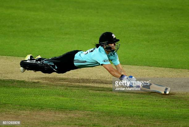 Marizanne Kapp of Surrey dives to make her ground during the Kia Super League match between Surrey Stars and Yorkshire Diamonds at The Kia Oval on...
