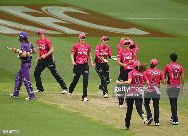 Marizanne Kapp of the Sixers celebrates after taking the wicket of Veronica Pyke of the Hurricanes during the Women's Big Bash League Semi Final...