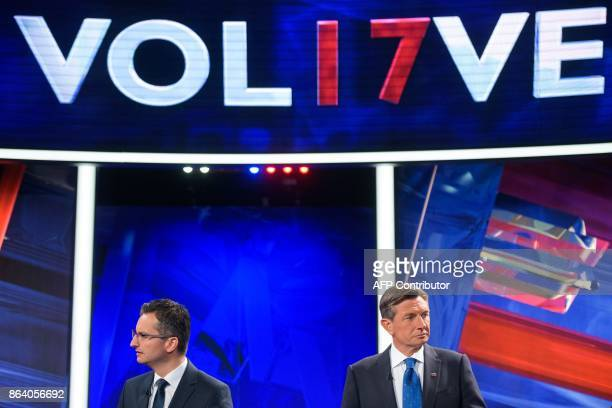 Marjan Sarec presidential candidate and Mayor of Kamnik and Borut Pahor presidential candidate and current President of Slovenia attend the last TV...