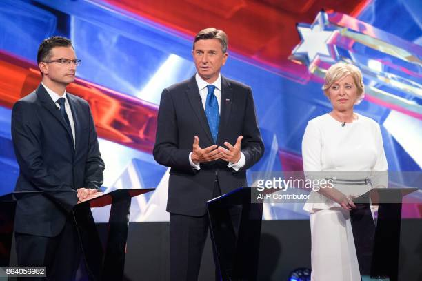 Marjan Sarec presidential candidate and Mayor of Kamnik and Borut Pahor presidential candidate and current President of Slovenia and Romana Tomc...