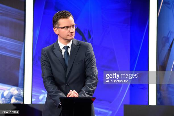 Marjan Sarec presidential candidate and Mayor of Kamnik attends the last TV Presidential Debate ahead of the Presidential Elections in Ljubljana on...