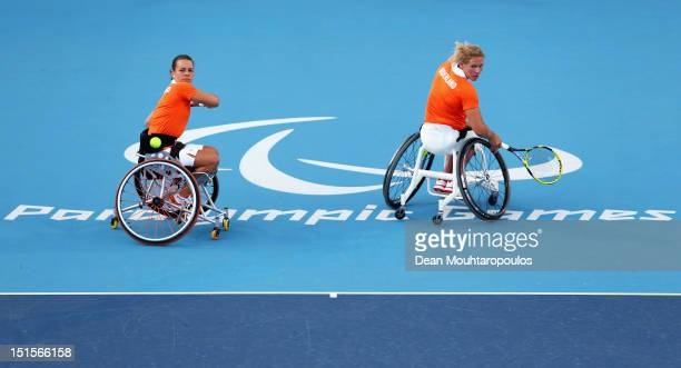 Marjolein Buis and Esther Vergeer of Netherlands in action against Jiske Griffioen and Aniek Van Koot of Netherlands in the Womens Doubles Gold Medal...