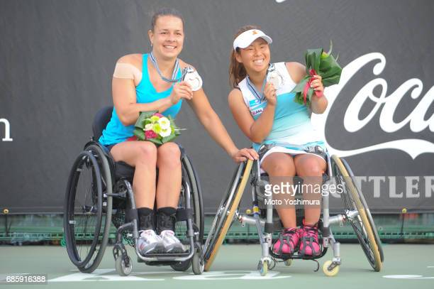 Marjolein Buis of the Netherlands and Yui Kamiji of Japan celebrate winning the Women's Doubles final during day five of the Wheelchair Tennis Japan...