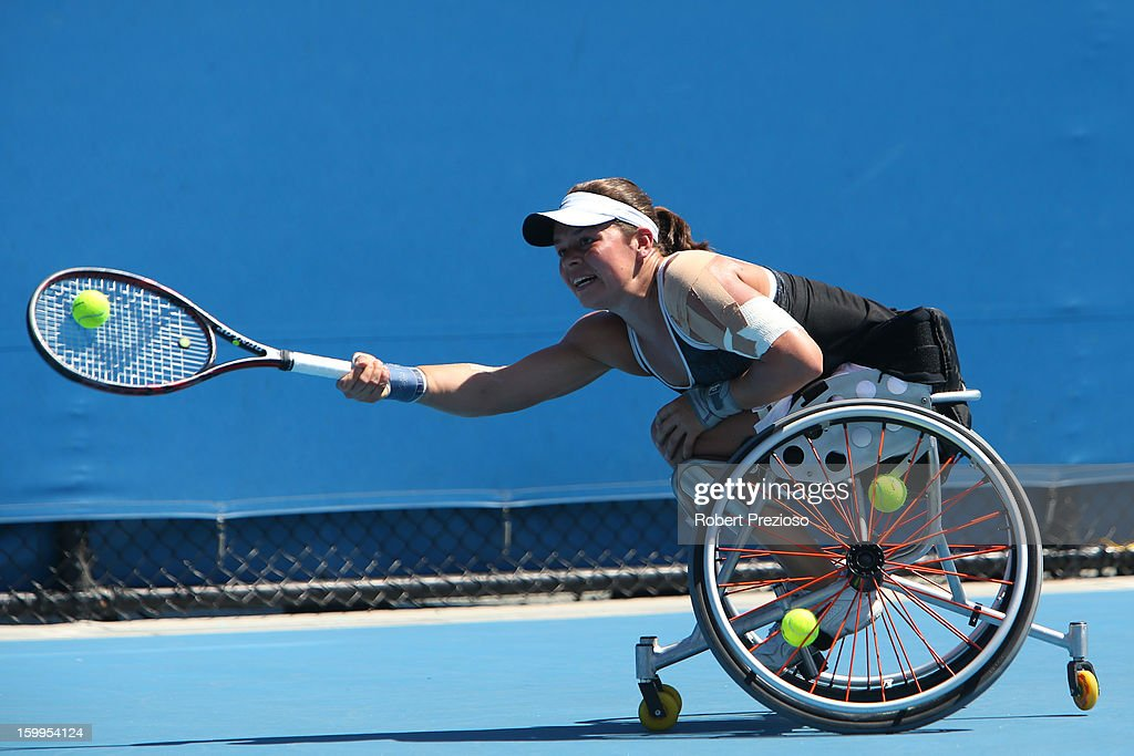 Marjolein Buis of the Netherlands plays a forehand in her second round match against Aniek Van Koot of the Netherlands during the 2013 Australian Open Wheelchair Championships at Melbourne Park on January 24, 2013 in Melbourne, Australia.