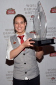 Marjolein Geuens of Belgium wins the Stella Artois 2014 World Draught Masters Championship at the Cannes Film Festival at the Martinez Hotel on May...