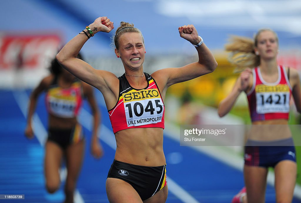 Marjolein Lindemans of Belguim celebrates after winning her race during the Girls Heptathlon 200 metres competition during day three of the IAAF World Youth Championships at Lille Metropole stadium on July 8, 2011 in Lille, France.