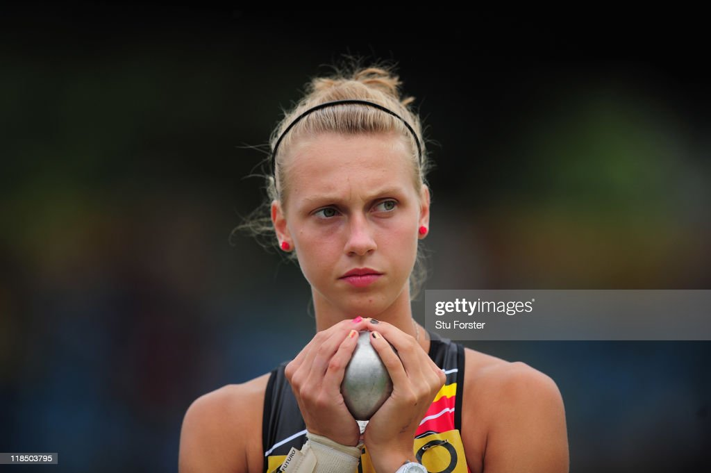 Marjolein Lindemans of Belguim prepares to throw the shot put during the Girls Heptathlon shot put competition during day three of the IAAF World Youth Championships at Lille Metropole stadium on July 8, 2011 in Lille, France.