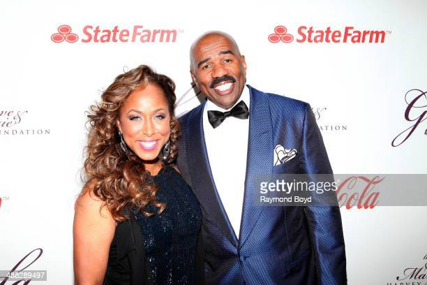 Marjorie and Steve Harvey attends the 2014 Steve and Marjorie Harvey Foundation Gala presented by CocaCola at the Hilton Chicago on May 3 2014 in...