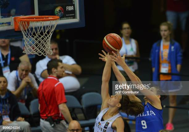 Marjorie Carpreaux of Belgium tries to block Cecilia Zandalasini of Italy during the FIBA EuroBasket women's quarterfinal match betwee Italy v...