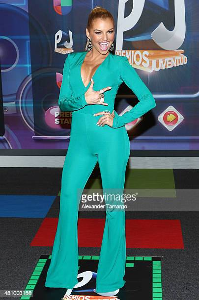 Marjorie de Sousa is seen arriving at Univision's Premios Juventud 2015 at the Bank United Center on July 16 2015 in Miami Florida