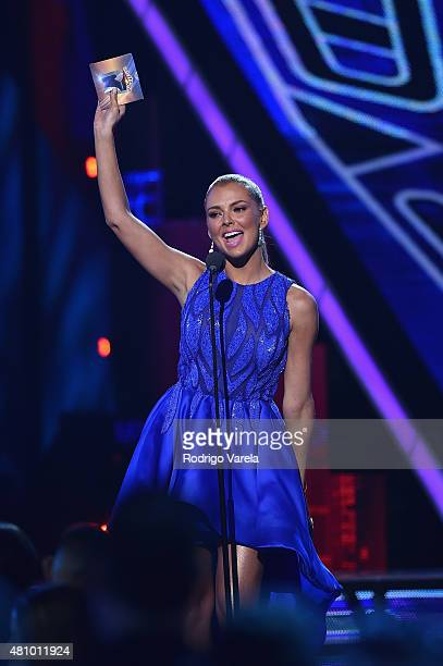 Marjorie de Sousa speaks onstage at Univision's Premios Juventud 2015 at Bank United Center on July 16 2015 in Miami Florida