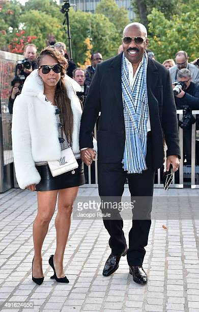 Marjorie Harvey and Steve Harvey arrive at the Louis Vuitton Fashion Show during the Paris Fashion Week S/S 2016 Day Nine on October 7 2015 in Paris...