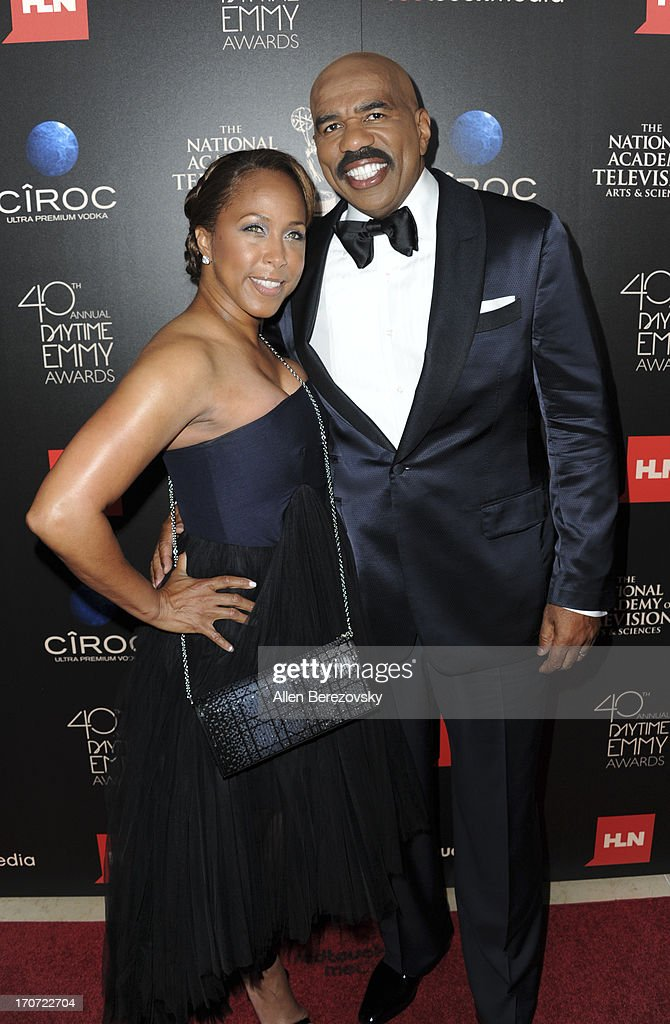 Marjorie Harvey and <a gi-track='captionPersonalityLinkClicked' href=/galleries/search?phrase=Steve+Harvey&family=editorial&specificpeople=210865 ng-click='$event.stopPropagation()'>Steve Harvey</a> attend 40th Annual Daytime Entertaimment Emmy Awards - Arrivals at The Beverly Hilton Hotel on June 16, 2013 in Beverly Hills, California.