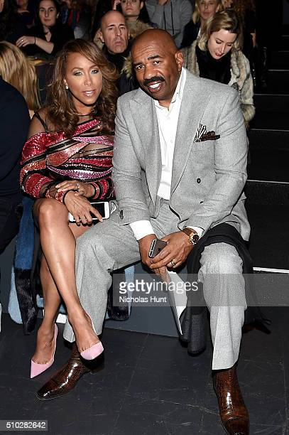 Marjorie Harvey and Steve Harvey attend the Prabal Gurung Fall 2016 fashion show during New York Fashion Week The Shows at The Arc Skylight at...