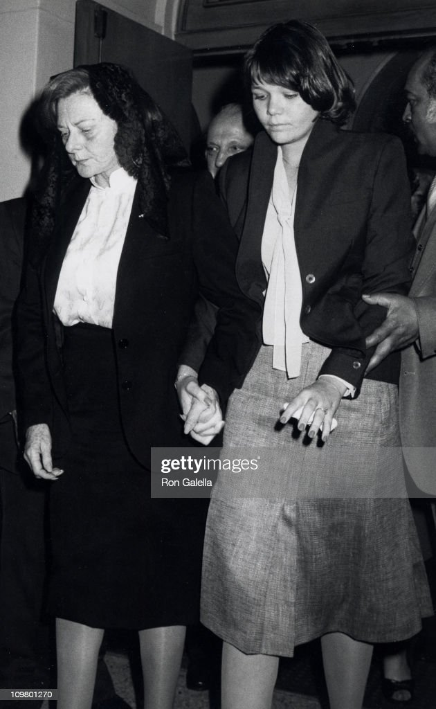 Marjorie Little and Cece Durante during Jimmy Durante's Funeral at Good Shepard Church in Beverly Hills, California, United States.