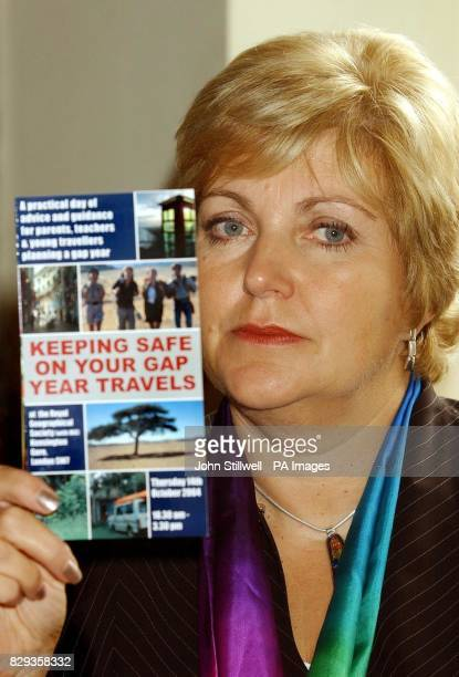 Marjorie MarksStuttle reads a pamphlet 'keeping safe on your gap year travels' during a seminar at the Royal Geographical Society in Central London...