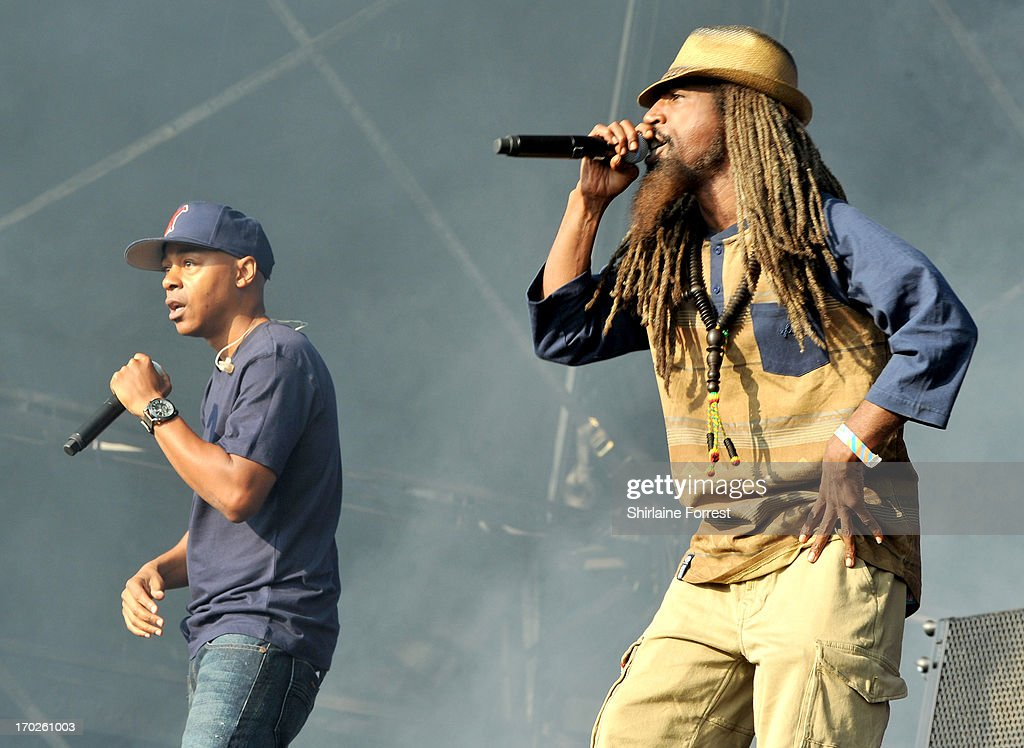Mark 7even and Akil of Jurassic 5 perform at Day 2 of the Parklife Festival at Heaton Park on June 9, 2013 in Manchester, England.