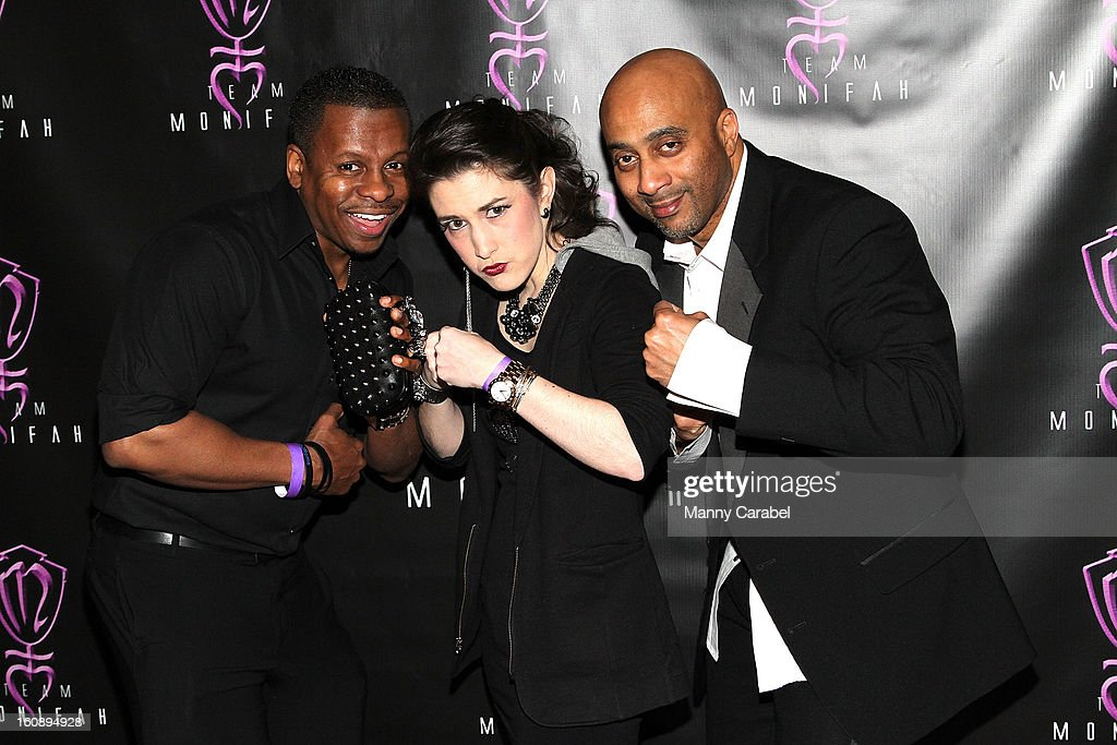 Mark A. Forrest COO of SMEG, Caitlin Kelly and Savoy Walker CEO of SMEG attend Monifah's 'In Her Skin' Showcase at Katra Lounge on February 6, 2013 in New York City.
