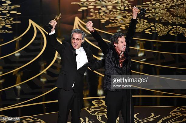 Mark A Mangini and David White accept the Best Sound Editing award for 'Mad Max Fury Road' onstage during the 88th Annual Academy Awards at the Dolby...