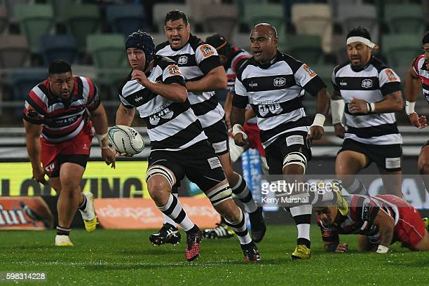Mark Abbott of Hawke's Bay makes a break during the round three Mitre 10 Cup match between Hawke's bay and Counties Manaukau at McLean Park on...