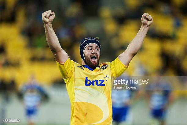 Mark Abbott of the Hurricanes celebrates the win at the final whistle during the round eight Super Rugby match between the Hurricanes and the...