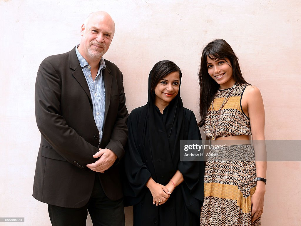 Mark Adams, Nayla al Khaja and Freida Pinto during a portrait session on day six of the 9th Annual Dubai International Film Festival held at the Madinat Jumeriah Complex on December 14, 2012 in Dubai, United Arab Emirates.