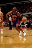 Mark Aguirre of the Detroit Pistons drives to the basket against the Atlanta Hawks during an NBA game at the Omni circa 1993 in Atlanta Georgia NOTE...