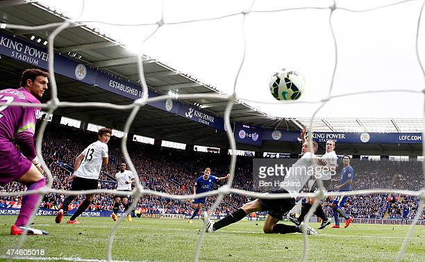 Mark Albrighton of Leicester scores his team's second goal of the game during the Premier League match between Leicester City and Queens Park Rangers...