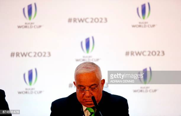 Mark Alexander President of SA Rugby looks down during a press conference after France was named to host the 2023 Rugby World Cup in London on...
