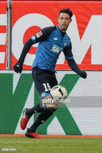 Mark Alexander Uth of 1899 Hoffenheim in action during the Bundesliga match between FC Augsburg and TSG 1899 Hoffenheim at WWK Arena on January 21...