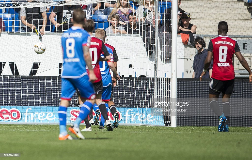 Mark Alexander Uth of Hoffenheim (not in the picture) scores the first goal for his team during the first bundesliga match between 1899 Hoffenheim and FC Ingolstadt at Wirsol Rhein-Neckar-Arena on April 30, 2016 in Sinsheim, Germany.