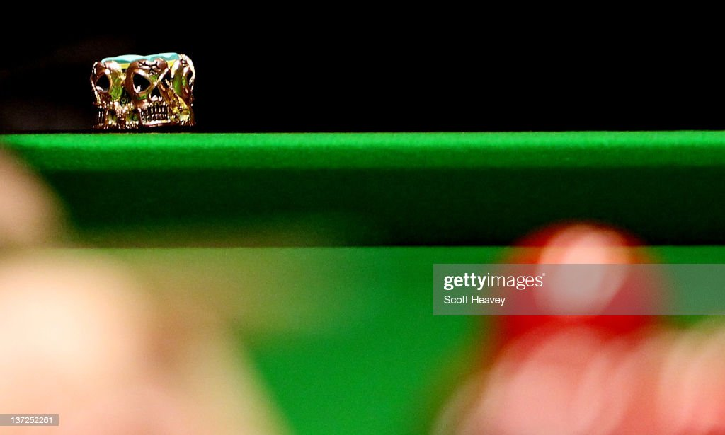 Mark Allen leaves his chalk on the table during his match against Neil Robertson during day three of the The Masters at Alexandra Palace on January 17, 2012 in London, England.