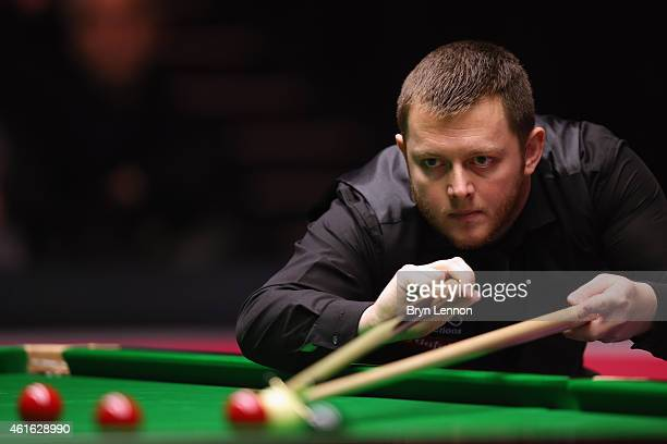 Mark Allen of Great Britain in action during his quarterfinal match against Joe Perry on day six of the Dafabet Masters at Alexandra Palace on...