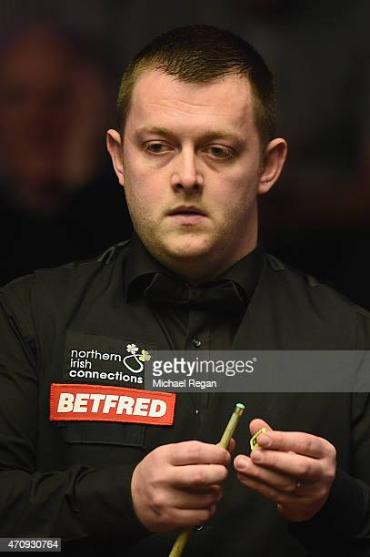Mark Allen of Northern Ireland looks on in his match against Barry Hawkins of England during day seven of the 2015 Betfred World Snooker Championship...