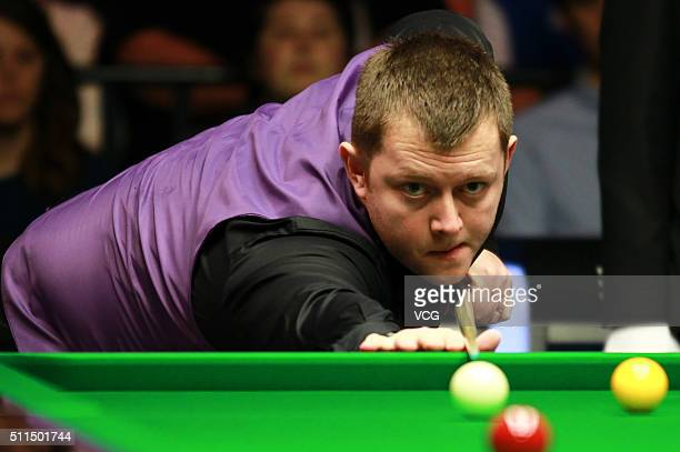 Mark Allen of Northern Ireland plays a shot in the semifinal match against Neil Robertson of Australia on day six of BetVictor Welsh Open 2016 at...