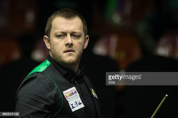 Mark Allen of Northern Ireland reacts during his eighthfinal match against Neil Robertson of Australia on day four of the World Open 2017 at Yushan...