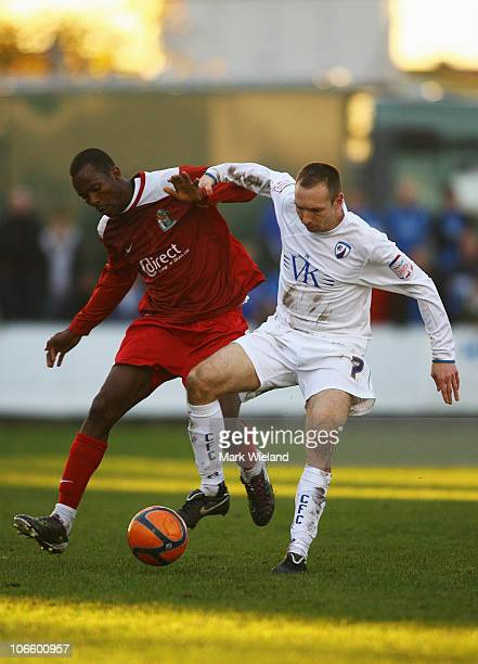 Mark Allott of Chesterfield in action during the FA Cup 1st Round match sponsored by eon on November 6 2010 in Harrow England