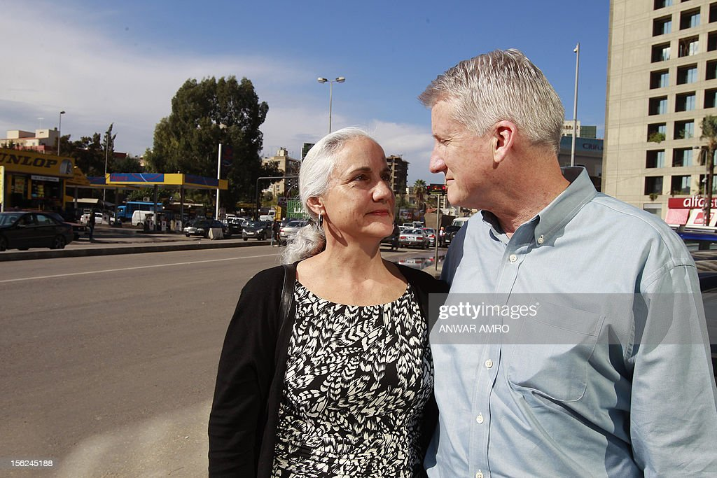 Mark (R) and Debra (L) Tice, the parents of Austin Tice, an American journalist who has been missing in Syria since August 2012, pose for a photo before giving a press conference at the Press Club in Beirut on November 12, 2012. AFP PHOTO / ANWAR AMRO