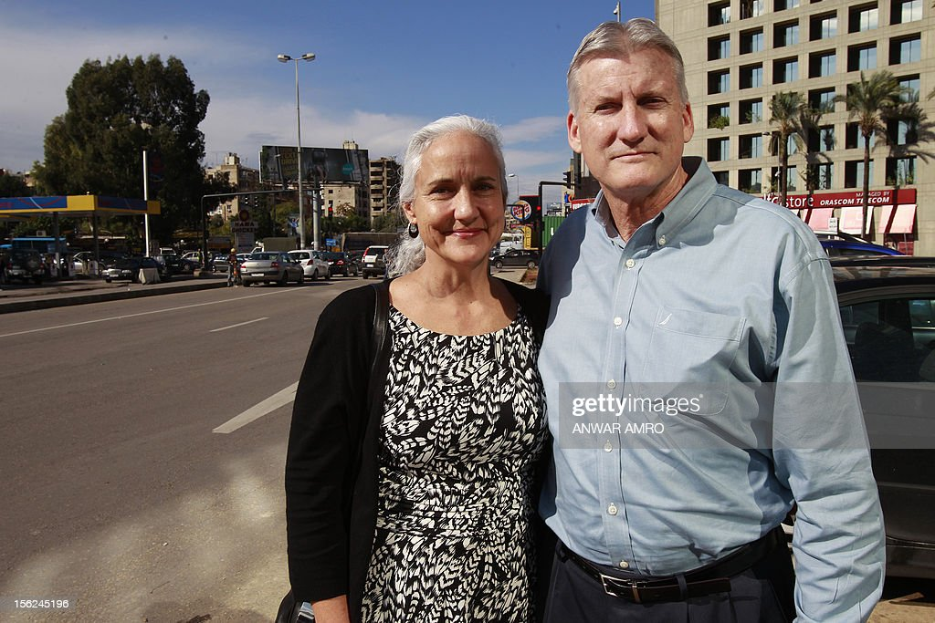 Mark (R) and Debra (L) Tice, the parents of Austin Tice, an American journalist who has been missing in Syria since August 2012, pose for a photo before giving a press conference at the Press Club in Beirut on November 12, 2012.