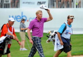 Mark Anderson approaches the 18th green during the final round of the BMW Charity ProAm Presented by SYNNEX Corporation at the Thornblade Club on May...